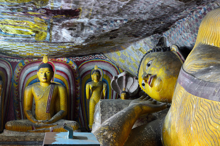 Inside of caves in ancient Buddhist complex in Dambulla cave temple. Sri Lanka
