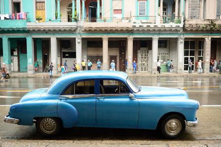 HAVANA, CUBA - 09 DECEMBER 2016: Old American cars serving as taxis in old Havana