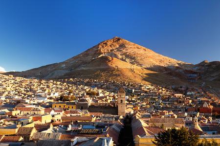 Potosi in Bolivia - the world's highest city (4070m). Potosi is set against the backdrop of a ranbow-colored mountain - Cerro Rico. San Lorenzo de Carangas church