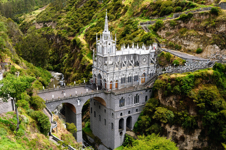 Most beautiful churches in the world. Sanctuary Las Lajas built in Colombia close to the Ecuador border