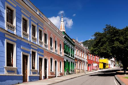 Color colonial building in the centre Bogota, Colombia, Latin America 写真素材