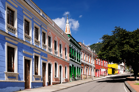 Color colonial building in the centre Bogota, Colombia, Latin America Stock Photo