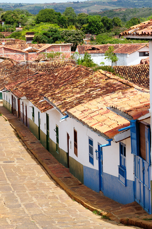 Colombia, Santander, Small street in the colonial village of Barichara, near San Gil