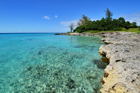 Coral beaches and turquoise water on the wild noon coast of Cuba