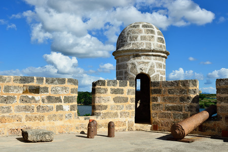 The Jagua fort is built by Spaniards by the Cienfuegos city on Cuba.In the assumption he was supposed to defend the access to the Cienfuegos bay against assaults with pirates Stock Photo