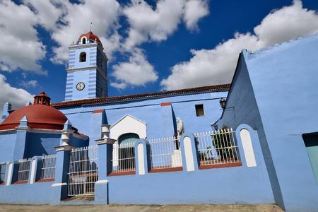 Facade of the colonial Parish church of the Holy Spirit in the Sancti Spiritus town on Cuba 版權商用圖片