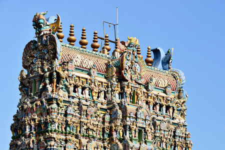 Meenakshi Sundareswarar Temple in Madurai. Tamil Nadu, India. It is a twin temple, one of Which is it dedicated to Meenakshi, and the other is Lord Sundareswarar Stock Photo