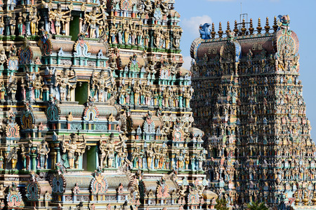 Meenakshi Sundareswarar Temple in Madurai. Tamil Nadu, India. It is a twin temple, one of Which is it dedicated to Meenakshi, and the other is Lord Sundareswarar Stock fotó