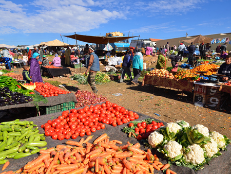 AZILAL, MOROCCO - 01 DECEMBER 2015: Provincial market in the central part of Morocco in the Azilal small town