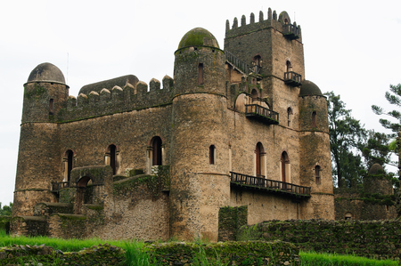 Castle built by the Emperor Fasilides  in the Gonder town in Ethiopia, Royal Enclosure Editorial