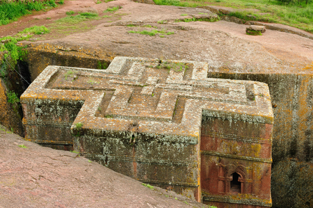 Ethiopian church carve in solid rock in Lalibela. St. George anciet orthodox church