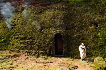 LALIBELA, ETHIOPIA - 30 AUGUST 2013: Ethiopian pilgrimprayer of religious churches in carve in solid rock in Lalibela