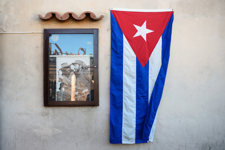 SANTAGO DE CUBA, CUBA  - 29 NOVEMBER  2016: Exhibition of photographs from the life of Fidel organised after his death, on the main square Santiago.