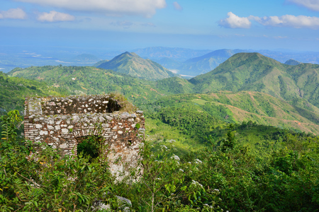 Mountain range over Haiti and the French Citadelle la ferriere built on the top of a mountain