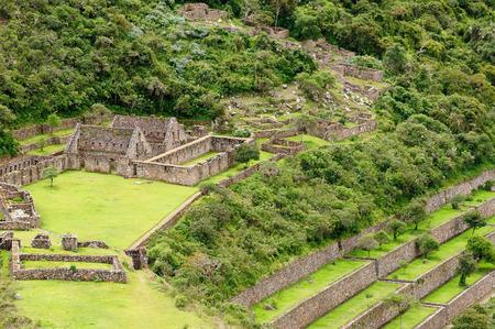 Peru - Choquequirao lost ruins (mini - Machu Picchu), remote, spectacular the Inca ruins near Cuzco 版權商用圖片