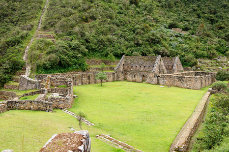 Peru - Choquequirao lost ruins (mini - Machu Picchu), remote, spectacular the Inca ruins near Cuzco 版權商用圖片