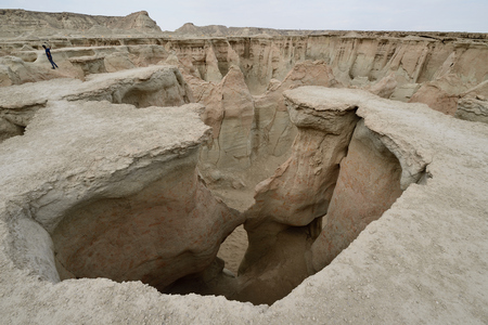 Wonderful rock formations created by the nature on the Stars Valley on the Qeshm island, Iran Stock Photo