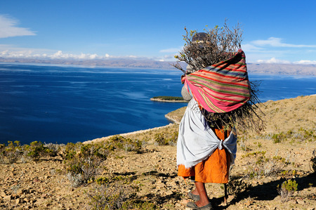 Bolivia - Isla del Sol on the Titicaca lake, the largest high altitude lake in the world (3808m) This island's legendary Inca creation site and the birthplace of the sun. Landscape of the Titicaca lake
