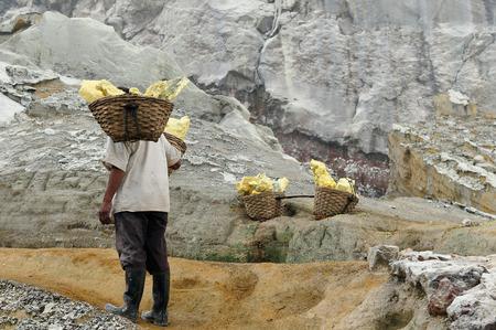 Indonesia, Java, The people which taken and carry the sulphur from caldera Kawah Ijen volcano near Bondowoso, Baluran National Park,