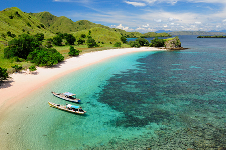 Wunderschöner rosa Strand, einer der schönsten der Welt mit rosa Sand und türkisfarbenem Wasser im Nationalpark auf Komodo. Indonesien