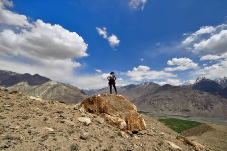 View on the Wakhan Valley in the Pamir mountain on the white Hindu Kush range in Afghanistan, Tajikistan, Central Asia