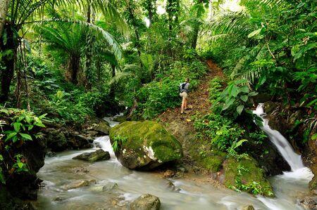 Tourist in wild Darien jungle near Colombia and Panama border. Central America.