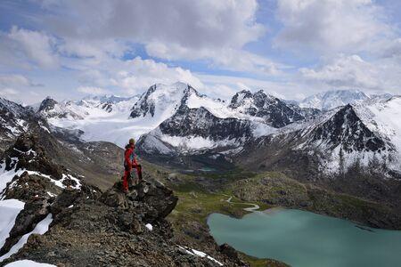 Tian Shan mountains, The  Ala Kul lake trail in the Terskey Alatau mountain range. Landscape to the Ala Kul lake, Kyrgyzstan, Central Asia.
