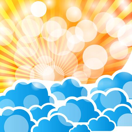 abstract background with sun rays and clouds Vector