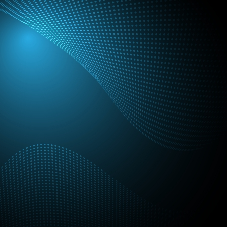 abstract dark background with wave of dots Ilustracja