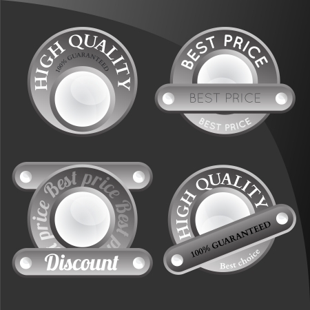 collection of abstract silver badges, tags, sign Vector