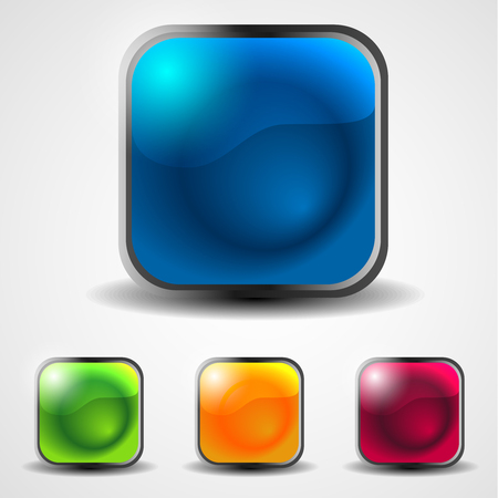 shiny buttons: set of abstract aquare shiny web buttons