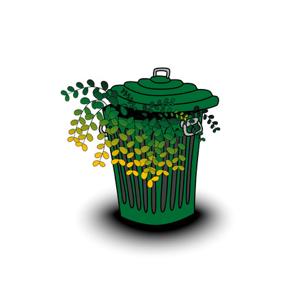 green old garbage can with plants Vector
