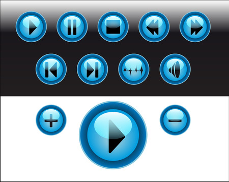 media player buttons blue Vector