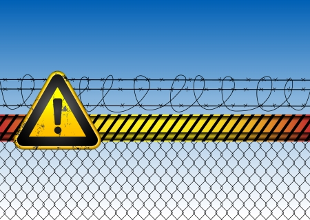 danger do not cross: abstract background with fence and road sign