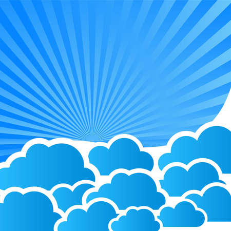 abstract blue background with clouds and rays Vector