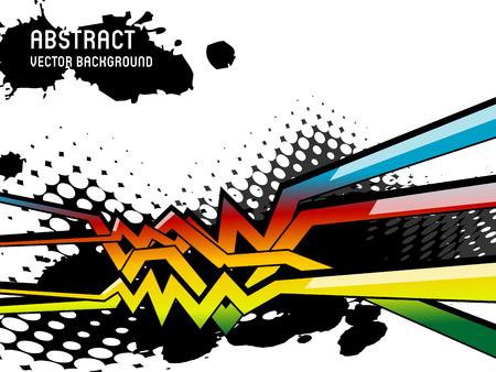 grafitis: vector de fondo abstracto con l�neas de graffiti de colores brillantes y el efecto de semitono Vectores