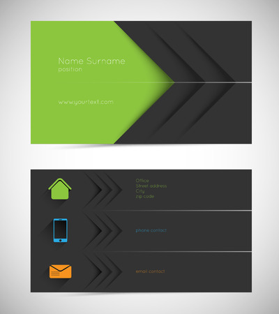 name card: modern business card with long shadow icons Illustration