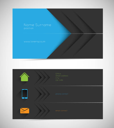 business cards: modern business card with long shadow icons Illustration