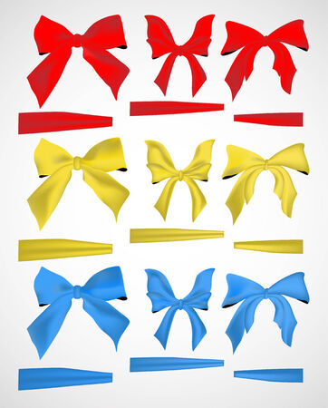 ribbons and bows: collection of bows and ribbons, design element Illustration