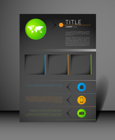 world design: modern flyer design template with icons Illustration