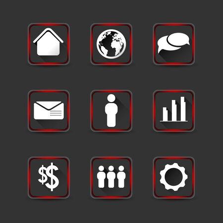 semaforo rosso: collezione di icone con lunghe ombre e rosso effetto luce