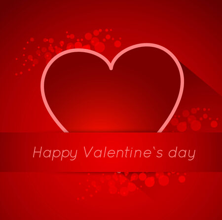 valentine background: abstract valentine postcard with heart and long shadow effect Illustration