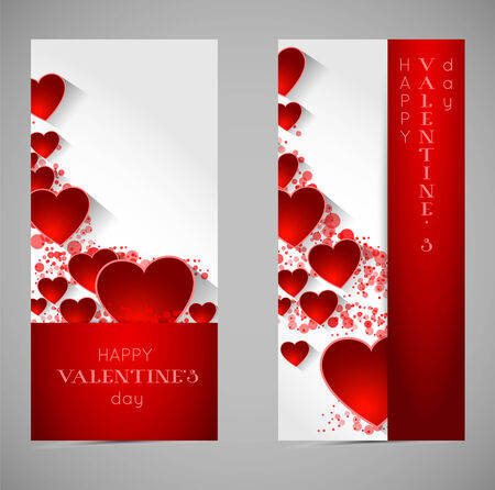 shadow effect: abstract valentine banners with heart and long shadow effect Illustration