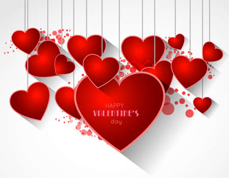 shadow effect: abstract valentine background with heart and long shadow effect Illustration