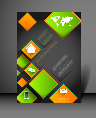 squares background: modern flyer design template with icons and squares, long shadow effect