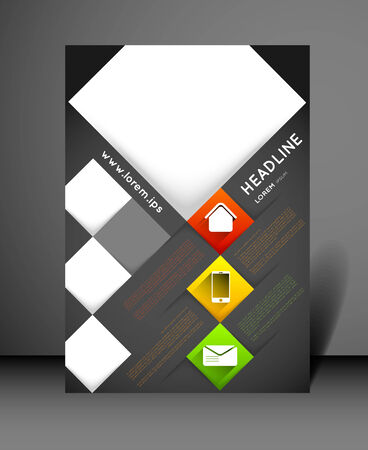 shadow effect: modern flyer design template with icons and squares, long shadow effect