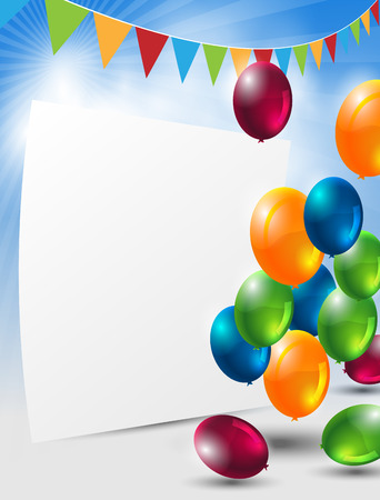 abstract celebration background with colorful balloons and paper Ilustrace