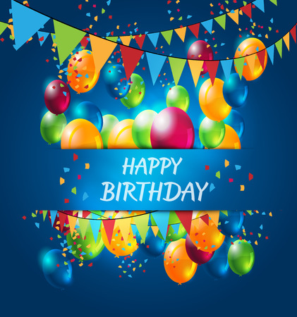 abstract celebration birthday background with colorful balloons Vettoriali
