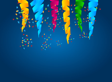 abstract celebration background with hanging swirl ribbons