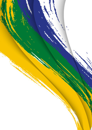 abstract background with brush strokes in brazil colors, design template Ilustrace
